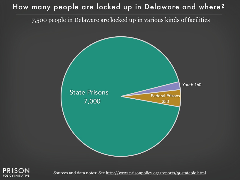 Pie chart showing that 7,500 Delaware residents are locked up in federal prisons, state prisons, local jails and other types of facilities