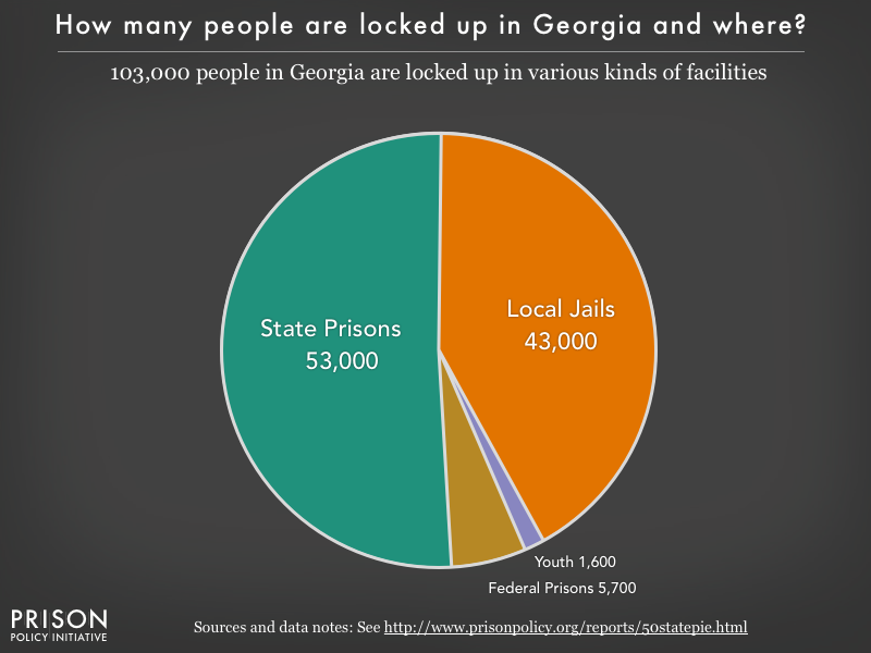 Pie chart showing that 89,000 Georgia residents are locked up in federal prisons, state prisons, local jails and other types of facilities