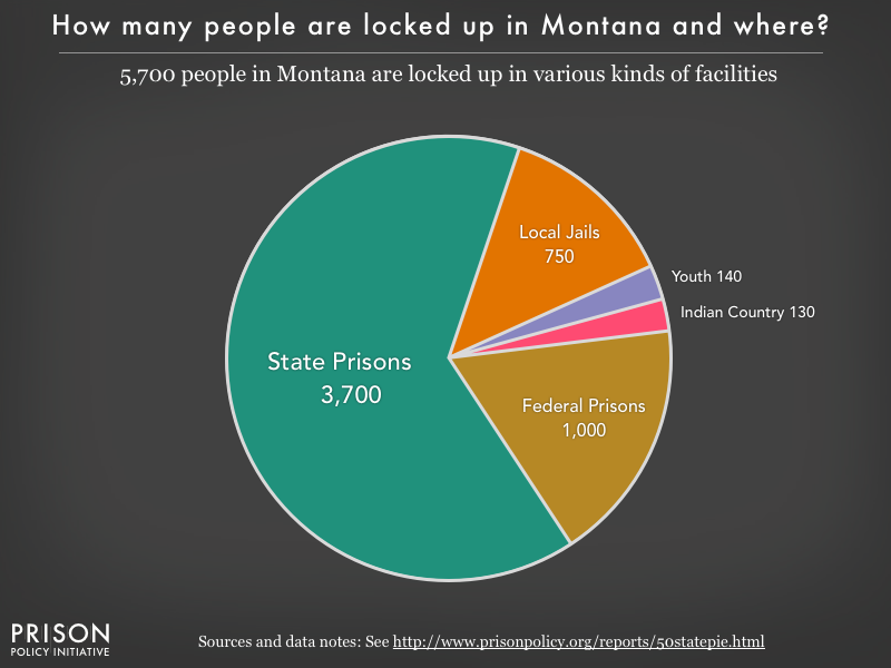 Pie chart showing that 5,000 Montana residents are locked up in federal prisons, state prisons, local jails and other types of facilities