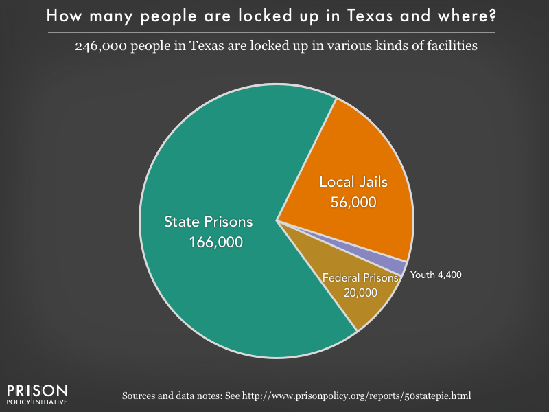 Pie chart showing that 231,000 Texas residents are locked up in federal prisons, state prisons, local jails and other types of facilities