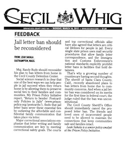 Cecil Whig letter to the editor thumbnail