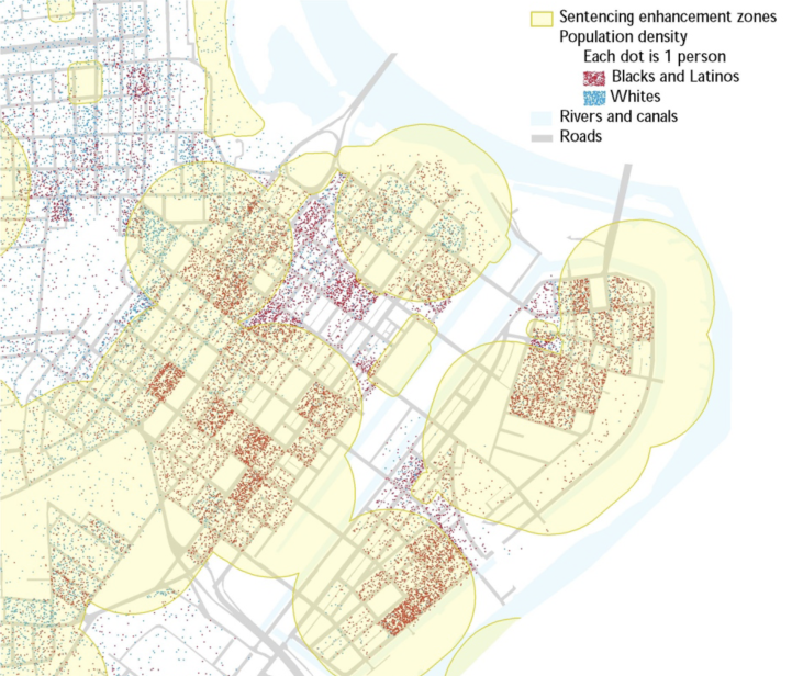 Map of downtown Holyoke shows that Blacks and Latinos reside disproportionately within the sentencing enhancement zones.
