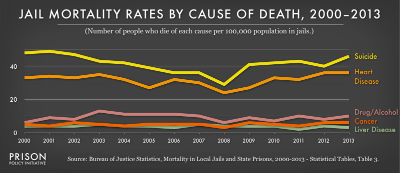 This graph shows that suicide has been the leading cause of death in jails from 2000-2013.