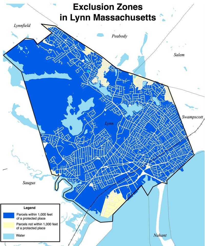 map showing Lynn's exclusion zones barring people on the sex offender registry from living in 95% of the city's residential properties