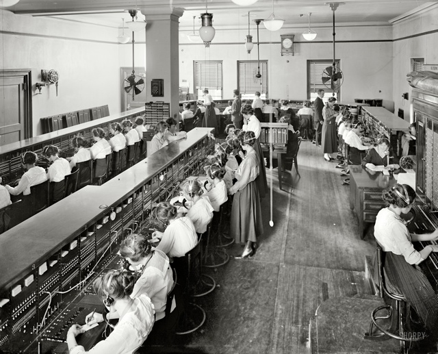 room with phone operators in 1919