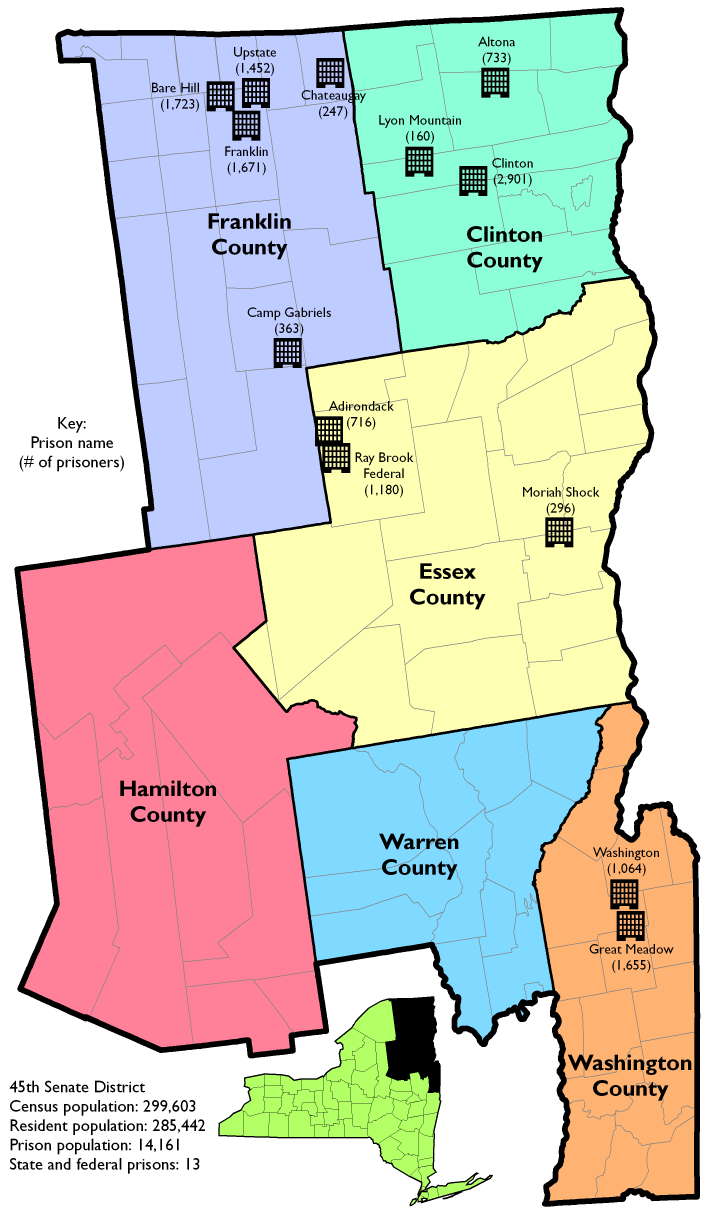Map Of New York Districts.Prison Populations In New York State Senate District 45 Prison