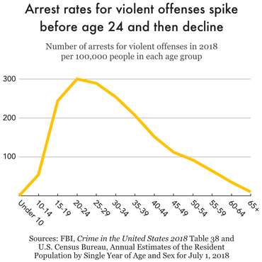 Chart showing arrest rates for violent offenses by age group in 2018. There is a sharp increase from ages 10-14 to ages 20-24, when the arrest rate peaks at 300 per 100,000 people age 20-24. Arrest rates then decline steadily among older groups.