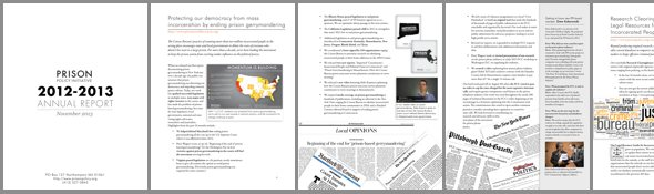 thumbnails of Prison Policy Initiative annual report for 2012-2013