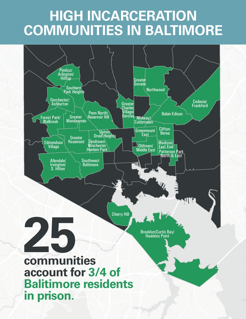 Map showing the 25 communities in Baltimore that account for 3 out of 4 Baltimore residents in prison. These 25 communities are: 