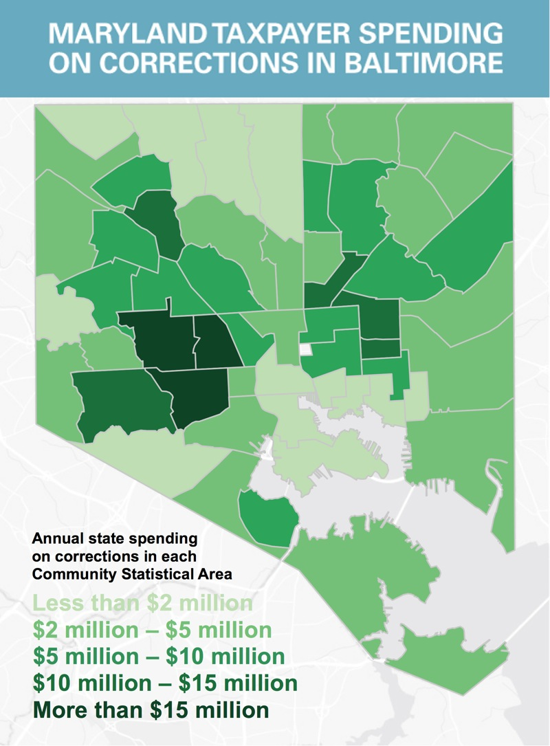 A map showing how much money is spent on incarceration in Baltimore, by community.