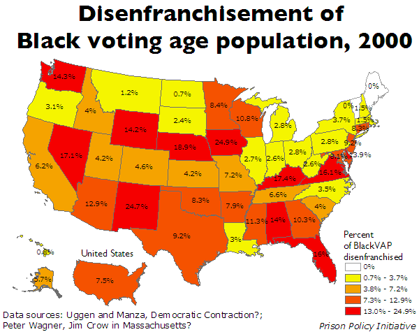 map showing the percentage of the Black voting age population that is disenfranchised in each state