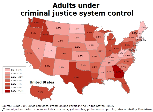 Map showing the percent of each state's adult population that is under the control of the criminal justice system