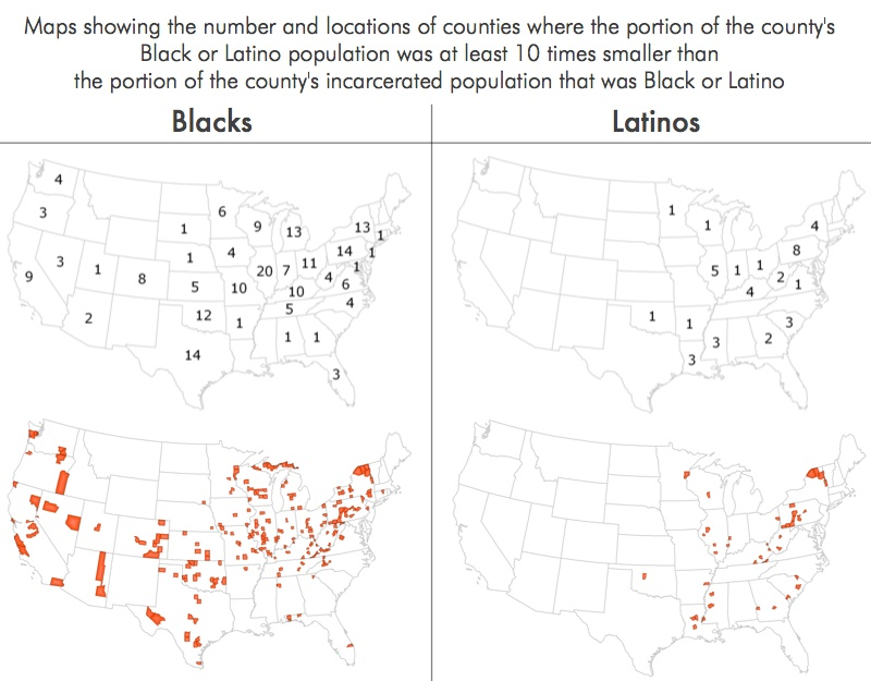 Maps showing where Blacks or Latinos are over-represented at least 10 times in the prison population compared to the surrounding county