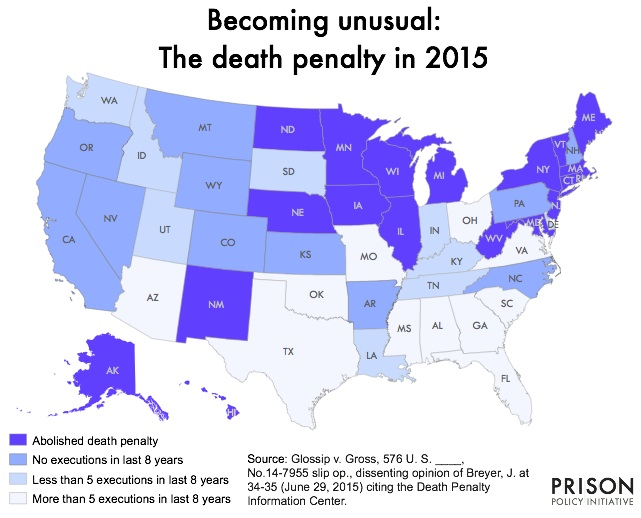 Map showing which states are using the death penalty and which states are not.
