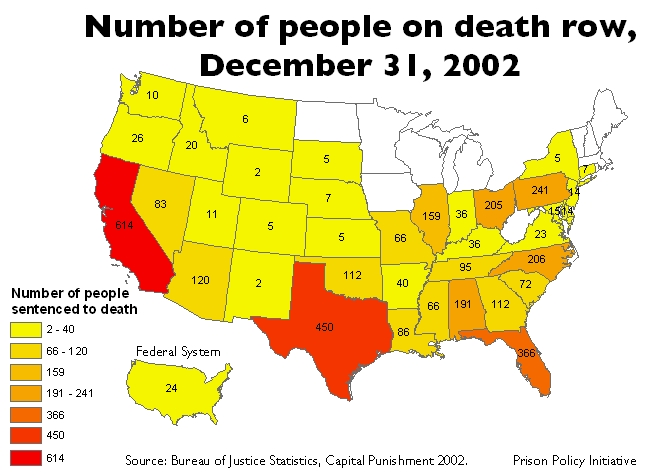 map: 2002 death row population by state