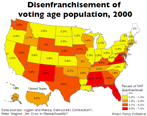 map showing the percentage of the  voting age population that is disenfranchised in each state