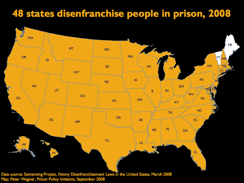 Map showing that 48 states disenfranchise people in prison, Vermont and Maine are the two states that do not.