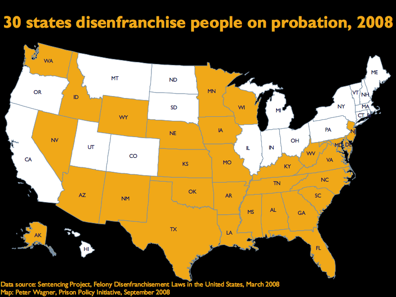 30 states disenfranchise people on parole.  The 20 states that do not are: California, Colorado, Connecticut, Hawaii, Illinois, Indiana, Maine, Massachusetts, Michigan, Montana, New Hampshire, New York, North Dakota, Ohio, Oregon, Pennsylvania, Rhode Island, South Dakota, Utah, Vermont