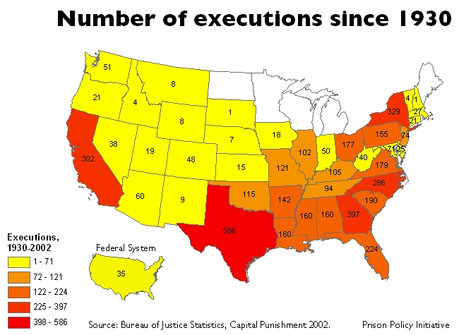 map: executions by state, 1930-2002