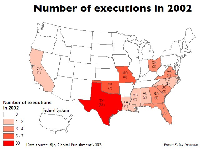 Map of US showing the number of executions in each state and the federal system in 2002