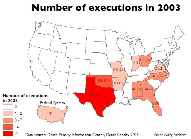 Map of US showing the number of executions in each state and the federal system in 2003
