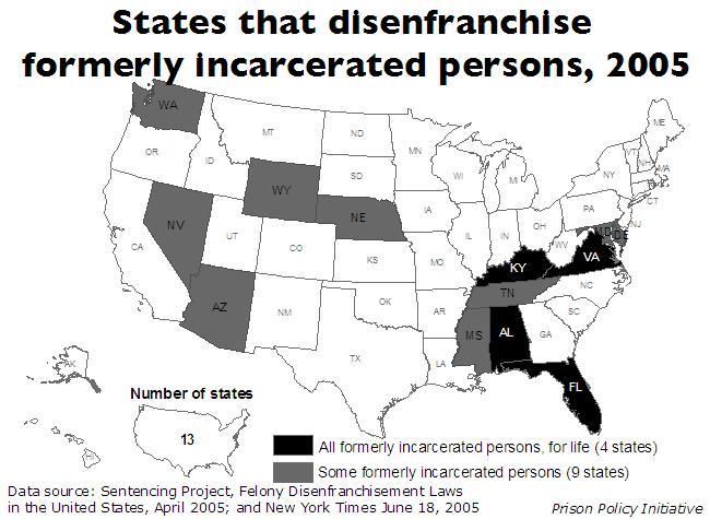 Disenfrachisement of citizens who have completed their sentences map by state, showing lifetime and partial disenfranchisement separately
