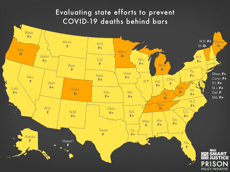 Map of the United States showing the letter grade each state received in this report.
