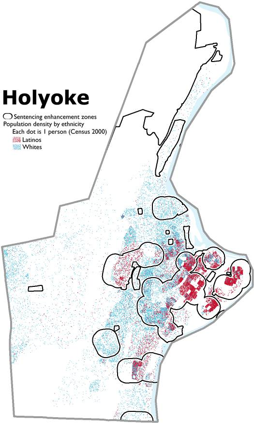 Map showing the White and Latino populations of Holyoke and the sentencing enhancement zones in that city. The Latino population lives disproportionately in the zones.