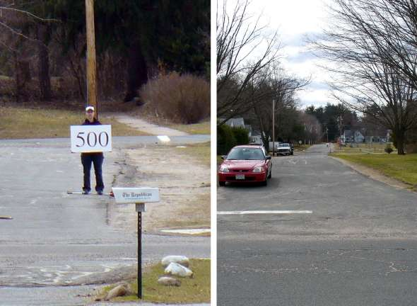 Photo illustration of co-author 500 feet away holding a large white sign. She is difficult to see.