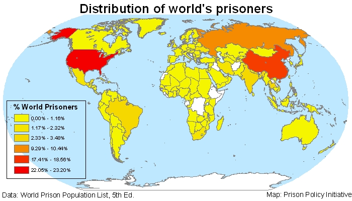 map showing the number of incarcerated people per country