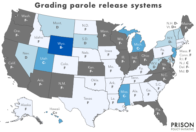 Map of the United States showing how each state's parole systems are graded on how fair and equitable they are. Most states get Fs, eight states get Ds, five states get Cs and Wyoming gets a B-.