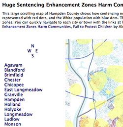 thumbnail of our Hampden county-wide full interactive page map of the sentencing enhancement zones in effect in 2008