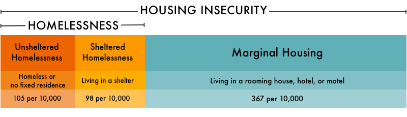 Graph breaking down our metric of housing insecurity into two types of homelessness and marginal housing.