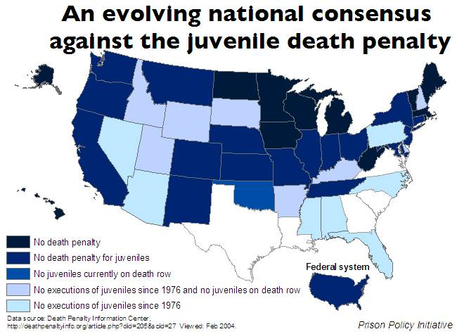 Map of US states showing which states have no death penalty, have no juvenile death penalty, have no juvenile defendants on death row and states that have not executed a juvenile defendant