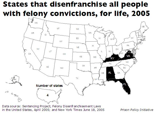 A map of the United States, with each state colored black if it disenfranchises all people with felony convictions, for life. Four states, Kentucky, Virginia, Alabama, and Florida, are colored black.