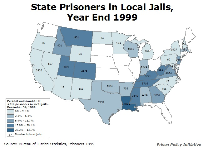 map showing the number and percentage of the state's prisoners that were in local jails at year end 1999