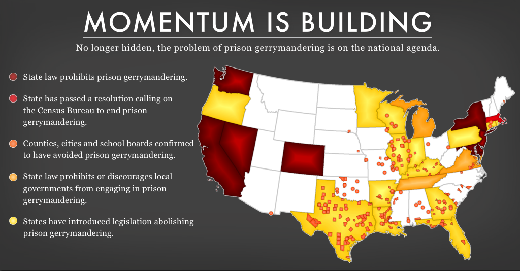 prison gerrymandering legislation map