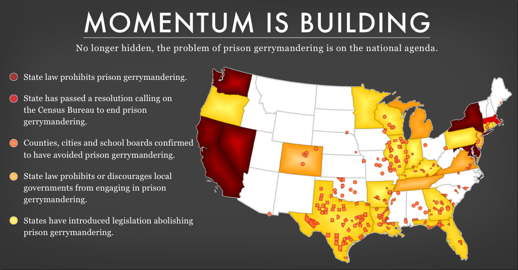 map showing state and local government that are taking action to end prison-based gerrymandering