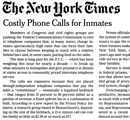 New York Times editorial Costly Phone Calls for Inmates