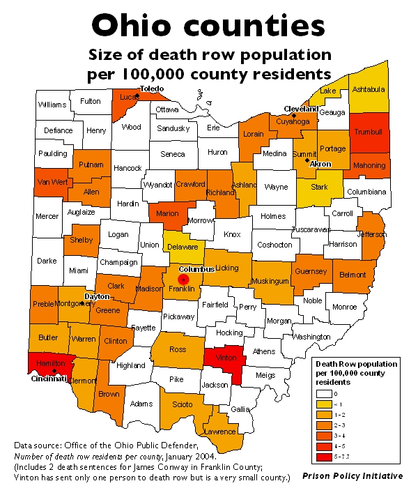 A map of Ohio and its counties, with each county colored based on the percent of its residents on death row.