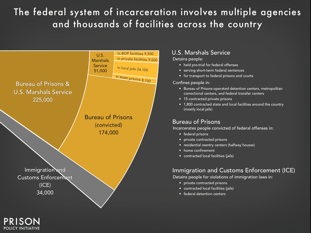 Graph showing the size and role of different parts of the federal detention system including the Bureau of Prisons, U.S. Marshals Service and Immigration and Customs Enforcement (ICE)
