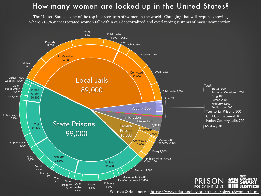 pie chart showing the number of women locked up on a given day in the United States by facility type and the underlying offense using the newest data available in 2018