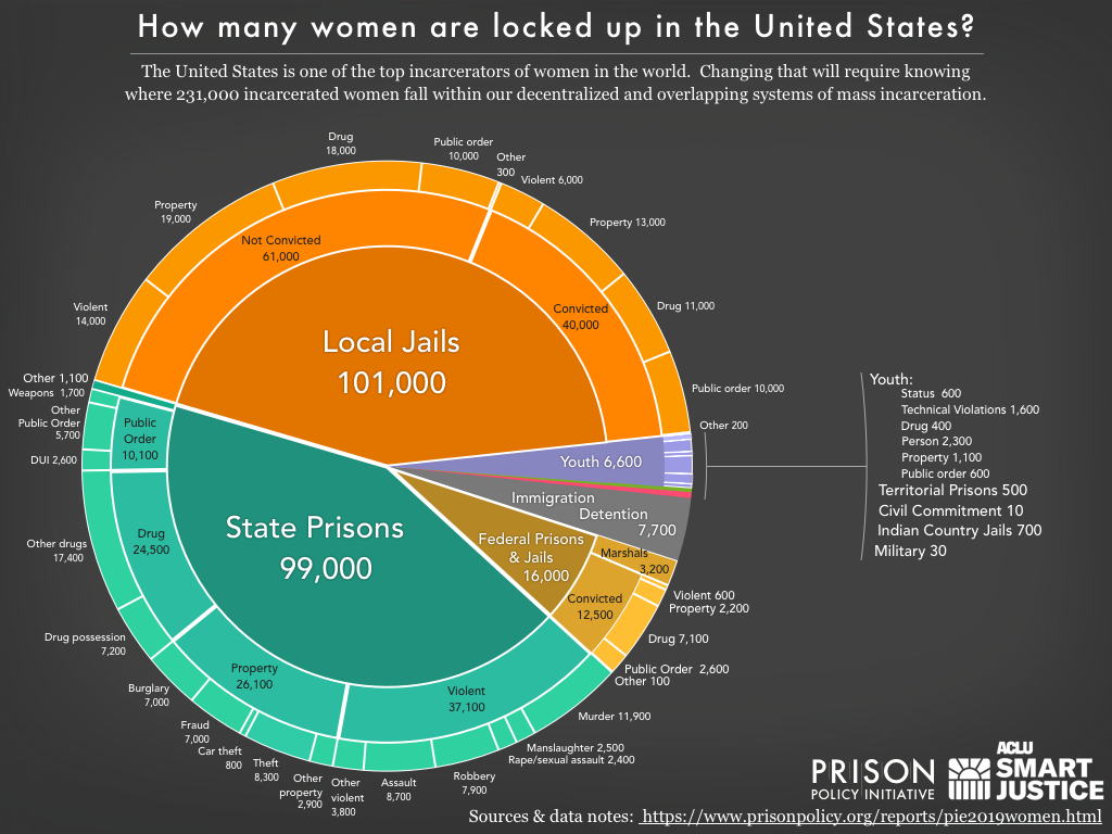 Pie chart showing the number of women locked up on a given day in the United States by facility type and the underlying offense using the newest data available in 2019.