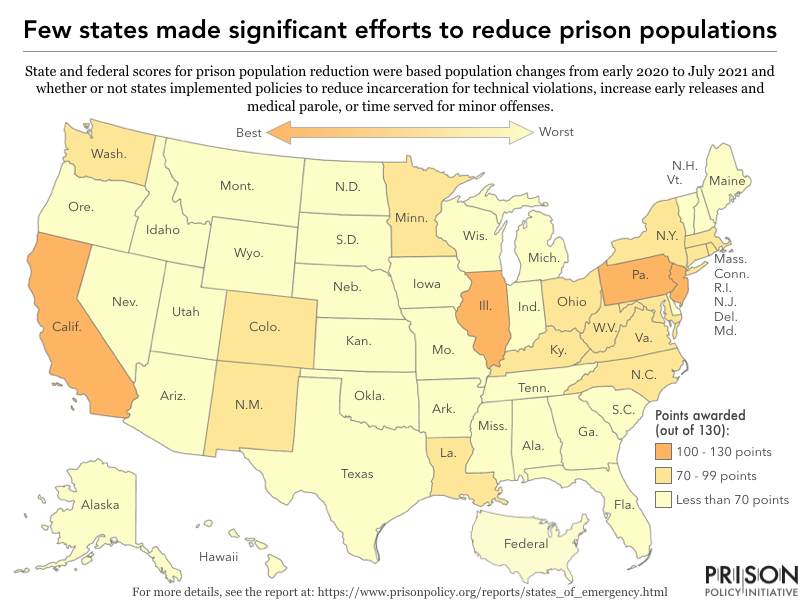 map showing the distibution in scores awarded to each state based on efforts to reduce their prison populations in the face of COVID-19