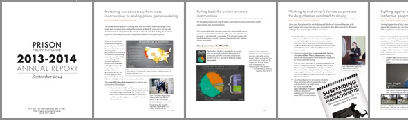 thumbnails of Prison Policy Initiative annual report for 2013-2014