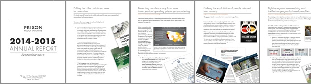 thumbnails of Prison Policy Initiative annual report for 2014-2015
