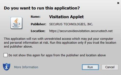 Screenshot of Securus unrestricted access applet