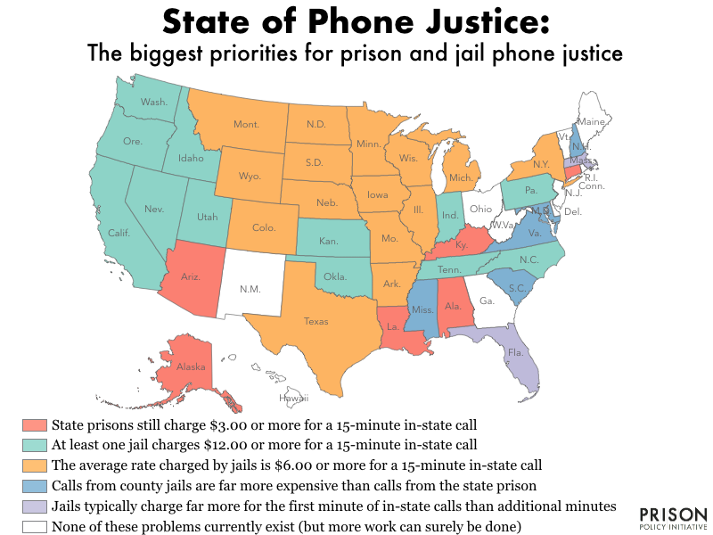 color coded map of the United States showing the biggest priorities for prison and jail phone justice in 40 of the states as of 2019