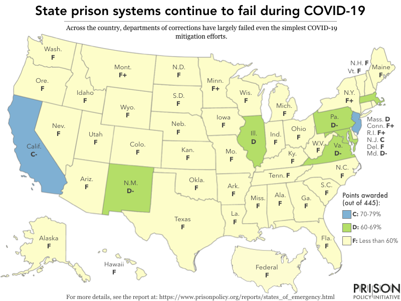 map of U.S. states showing failing grades in response to COVID-19 in prisons