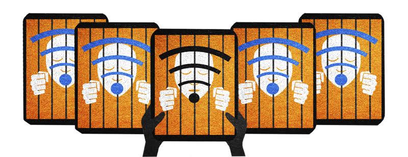 Illustration depicting faces behind bars within tablet screens